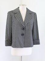 Tahari Levine Black Off White / Gray Geometric Polka Dot Swing Blazer Jacket 12