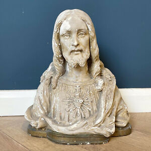Antique Bust Of Jesus Christ Plaster Statue Busts Lord Statues French Antiques