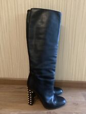 Gucci spike Jacquelyne black leather women boots shoes 37 7