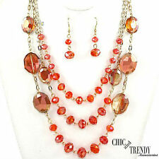 "HIGH END ""CORAL"" AB GLASS CRYSTAL CHUNKY LONG NECKLACE JEWELRY SET CHIC & TRENDY"