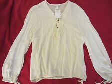 WOMENS H&M OFF WHITE LONG SLEEVE TIE FRONT TIE WAIST KNIT TOP SHIRT BLOUSE 14