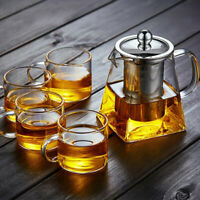 1PC Stovetop Loose Leaf Tea Heat-resistant Glass Teapot With Infuser Clear Brew
