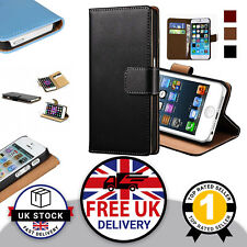 Vegan Leather Flip Case with Wallet Card Slots & Stand iPhone 5/5s, 6/6s, 6+ UK