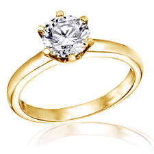 2.00CT ROUND MAN-MADE DIAMOND SOLITAIRE ENGAGEMENT RING 14K SOLID YELLOW GOLD