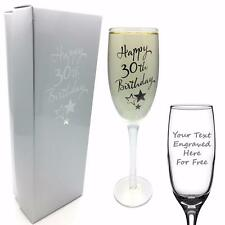 Personalizado Grabado 30th Cumpleaños champán flauta Prosecco Vidrio Regalo G31830-P