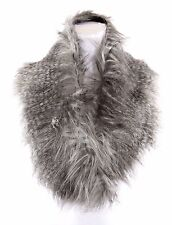 B161 Faux Fur Collar Stole Scarf Wrap Silver Gray Black Satin Lining Boutique