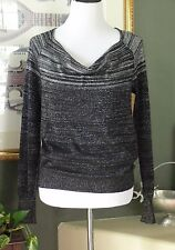 DKNY Jeans Black/Silver Metallic Knit Cowl Neck Top M