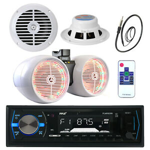 """6.5"""" Marine 800W Box Speakers, Pyle Bluetooth USB Radio, Antenna, 6.5"""" Speakers"""