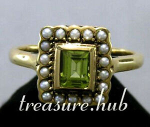 Genuine 9K, 10K,18K Gold Natural Peridot & Pearl Cluster Halo Ring Vintage style