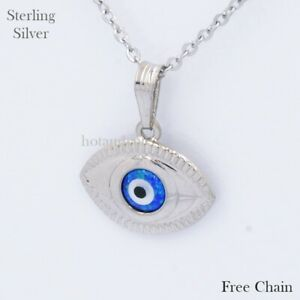 Sterling Silver Lucky Charm Greek Pendant Evil Eye Good Luck Gift Free Necklace