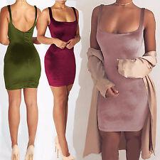 UK Womens Velvet Plunge Bodycon Ladies Strappy Christmas Party Mini Dress 6-14