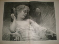 In the Firelight by Max Ring engraved by R Bong 1897  print Ref L