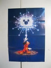 VINTAGE The Disney Channel Poster, Mickey Mouse Sorcerer & MATCHING BUTTON