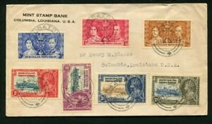 1935 Silver Jubilee Bechuanaland set with 1937 Coronation set on cover to USA
