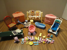 Fisher Price Loving Family dollhouse furniture w/baby Krissy & other acc.