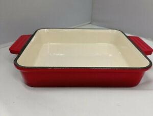 Red Enamel Cast Iron Roasting Dish Enamel Ovenware Oven Proof Dish Serving Pot