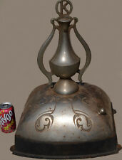Antique K Cast Iron Tall Ornate Chromed Wood Stove Furnace Heater Finial & Base