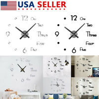 Modern Design DIY Large Wall Quartz Clock 3D Mirror Sticker Home Office Decor US