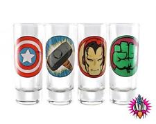 OFFICIAL MARVEL LOGOS SET OF 4 PARTY SHOT GLASSES NEW & GIFT BOXED