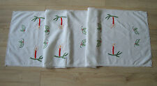 Vintage Christmas Hand – embroidered Table runner w/ Xmas Candlesticks & Lace