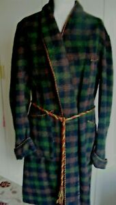 Vintage 1940s wool tartan dressing gown robe Burkraft dark green check Medium