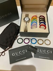 Vintage Gucci Ladies Bracelet Watch Interchangable Bezel Faces Great Condition