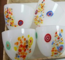 Millefiori Style Blown Art Glass (Murano?) Set 4 Lamp Shade Bobeche Chandolier