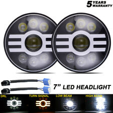 7in Round LED headlight Halo DRL Hi Lo Beam 6000K 3000K for Jeep Wrangler JK TJ