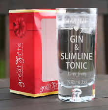 Coffret personnalisé Gin & Slimline Cadeau Verre tonique cœur Noël Anniversaire