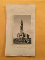 K4) 1837 Etats-Unis D'Amerique Anabaptists Church Providence Original Engraving