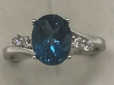 Fine Genuine London Blue Topaz Aquamarine Amethyst Engagement Ring White Gold