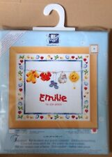 Vervaco counted cross stitch Birth sampler + frame