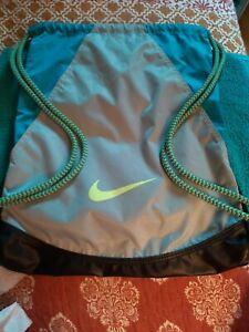 Nike Training Drawstring Gymsack Backpack Teal, Grey, Lime and Black