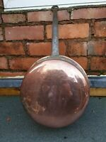 Large Vintage French Copper Frying Pan with Black Metal Handle