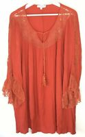 Umgee Blouse Boho Pockets Lace Tassel Tie Flowy Women 1XL
