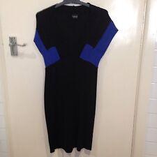 Topshop Black And Blue Cap Sleeve Mini Dress Size Euro 38
