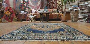 "Beautiful Antique Cr1930-1939s, Wool Pile 4'5""× 6'8"" Muted Indigo Dye,Oushak Rug"