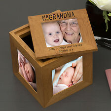 Personalised Engraved Me and Grandma Oak Photo Cube Gift Idea For Gran Granny