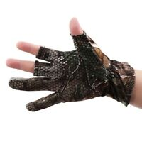 Durable Fishing Gloves Anti-Slip Hunting Shooting 3 Cut Fingers Camo Style GA