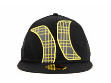 Hurley Black and Yellow New Era 59Fifty Fitted Hat Cap Lid Flat Bill 7 1/4 $35