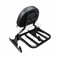 Black Backrest Sissy Bar and Rack for Harley Softail 200mm 06-UP GLOSS BLACK