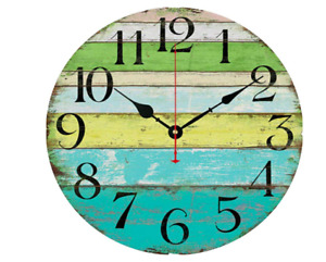 Wall Clock Large Modern Art Home Decor Round Rustic Country Style 11.81 inch