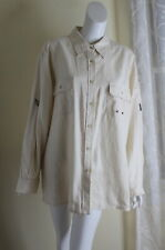 Jones New York -Sz 3X Wheat Ivory 100% Linen Beautiful Pocketed Blouse Shirt Top