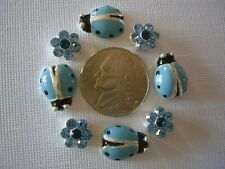 2 Hole Slider Beads Ladybugs/Daisy Lt. Sapphire Crys Made w/Swarovski Elements#8