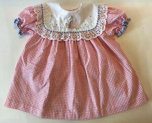 Vtg Beatrix Potter Embroidered Dress 18 Months Pink Gingham Bunny Peter Rabbit
