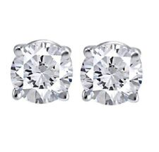 IGI CERTIFIED 1.00ct ONE CARAT ROUND-CUT DIAMONDS 14K GOLD STUDS EARRINGS