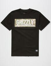 Grizzly Griptape Sycamore Box Log T-Shirt Mens Tee Black Shirt Fashion Skate Cub
