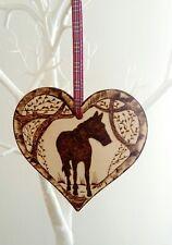 Horse Pony wooden heart wall plaque ornament home decor interior