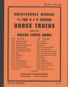 TM10-1123/1443 1/2 ton operators book 4x4 Dodge WC series carryall pick up WW2