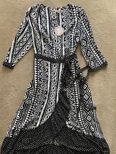 BNWT PAPRIKA Contrast Aztec Tribal Polka Dot Rixo Print Wrap Midi Dress Size M